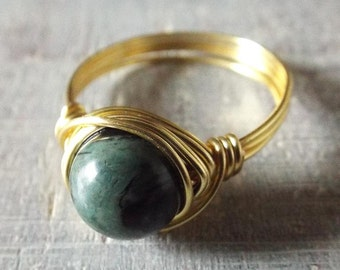 Kambaba Jasper Ring, Unique Stone Ring, Wire Wrapped Ring, Black and Green Ring, Gold Gemstone Ring, Jasper Jewelry, Boho Ring, Hippie Ring