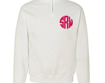 Monogrammed Quarter Zip Sweatshirt   Personalized Unisex Sweatshirt   Mens White Sweatshirt   Womens White Sweatshirt   Monogrammed Pullover