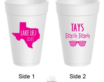 16oz Styrofoam Cups Personalized for Bachelorette Party, 25 count