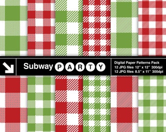 Christmas Red Green Buffalo Check and Gingham Plaid Digital Papers. Scrapbook / Party Papers 8.5x11 & 12x12 jpg INSTANT DOWNLOAD