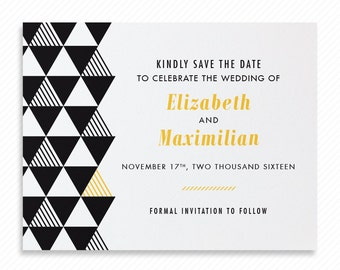 Geometric Triangles Printable Save the Date with Print-at-Home Wedding Invitation Suite and Print-ready Information Card