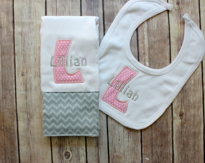 Monogrammed Bib and Burp Cloth for Baby Girl, Applique Burp Cloth, Personalized Burp Cloth Bib Set, Baby Girl Monogrammed Set, Baby Gift