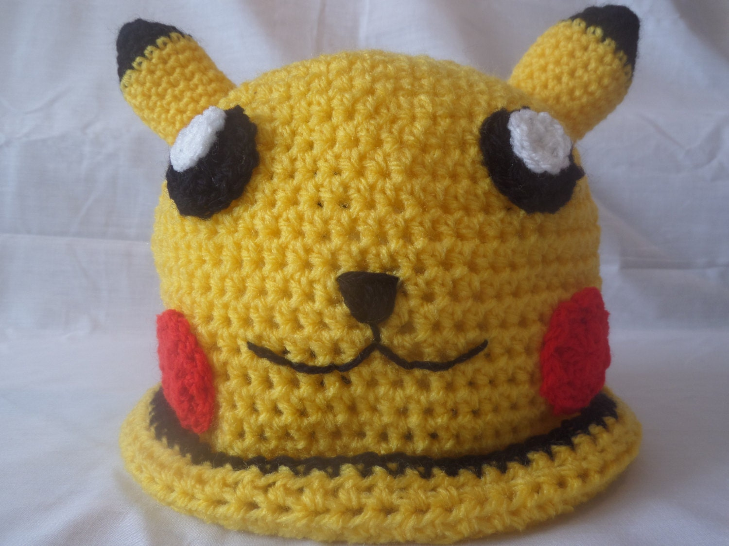 Hand Made Crochet Pokemon Pikachu Style Beanie Hat - Teen and Adult ...