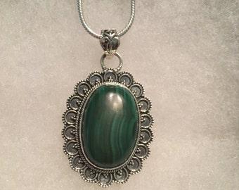 "Malachite Gemstone Pendant Necklace in Sterling Silver Design 18"""