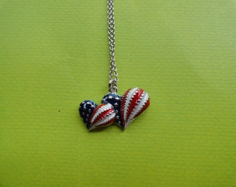 Heart patriotic red white and blue necklace