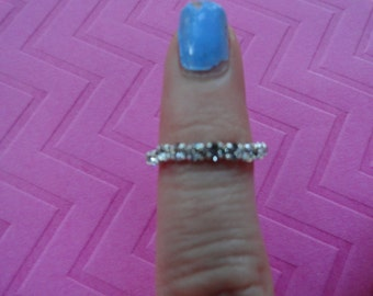 Crystal band stretch toe ring