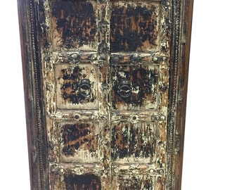 Antique Distressed Cabinet, Reclaimed Teak Doors, India Furniture, Rustic Almirah, Southwestern, Spanish, Old World