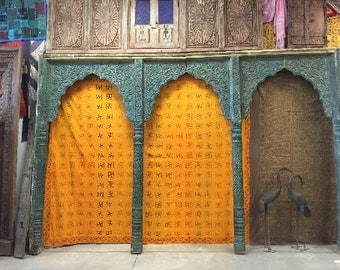 India Archway Carved Architectural Antique Carved 3 Arch Double sided Room Divider 12x8 feet Jaipur Blue teal 19c FREE SHIP