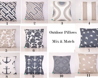 Outdoor Pillow Covers - Charcoal and Tan PILLOW - Lumbar - Various Sizes - Grey Pillow Cover - Accent Pillow - 20x20,18x18,22x22