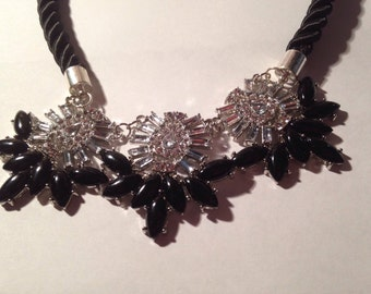 Crystal Black and white necklace, 16-18""
