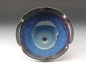 Handmade Pottery Bowl Blue Black by Mark Hudak