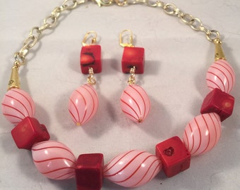 Peppermint candy necklace. And earrings