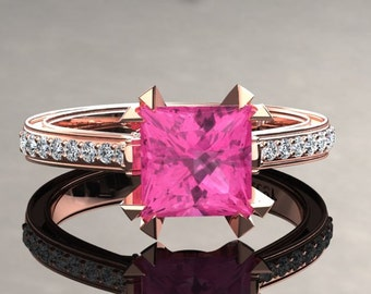 Pink Sapphire Engagement Ring Princess Cut Pink Sapphire Ring 14k or 18k Rose Gold Matching Wedding Band Available SW12PKR