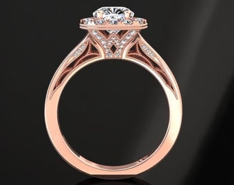 Moissanite Halo Engagement Ring Cushion Cut Moissanite Ring 14k or 18k Rose Gold Matching Wedding Band Available SW20MOISR