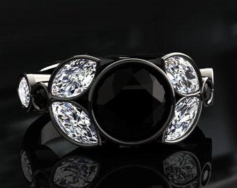 Natural Black Diamond Halo Engagement Ring Black Diamond Ring 14k or 18k Black Gold W16BKDBK