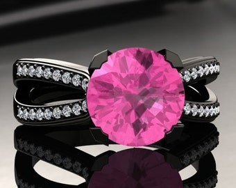 Pink Sapphire Engagement Ring Pink Sapphire Ring 14k or 18k Black Gold SW7PKBK