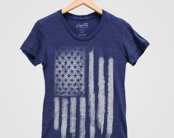 SALE - AMERICAN FLAG Women Tri-blend Shirt Hand Screen Print