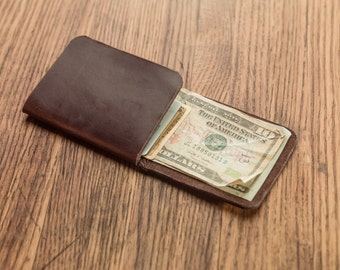 Ready to Ship - Minimal Front-Pocket Wallet - Horween Wallet in Brown Chromexcel