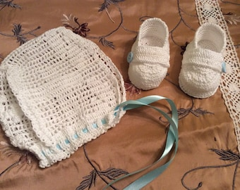 Baby Liam crochet christening bonnet and booties, baby boy bonnet and booties , christening bonnet, blessing bonnet, baptism bonnet,