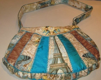 Patchwork Shoulder Bag in Teals and Golds