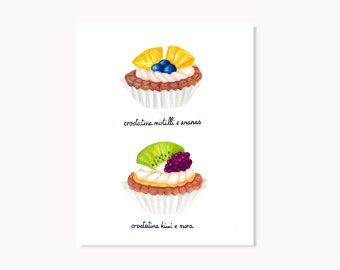 Fruit tarts illustration, art print Matt paper, tart, custard, blackberry, blueberry, pineapple, kiwi, kitchen art, dessert illustration