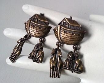 Vintage Brass JJ Noah's Ark Pierced Post Earrings Scarce Jonette Jewelry