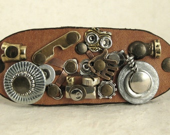 324 Motorcycle Steampunk Burning Man Assemblage Bracelet Old Motorcycle Saddlebag Recycled Jewelry Industrial Machine Age
