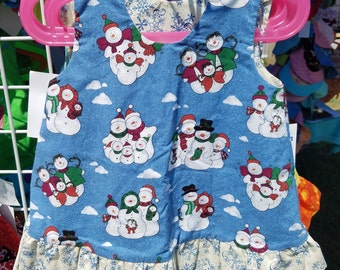 Reversible Dress  24 months / 2T  Snowman and Snowflakes with ruffle
