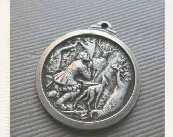 Antique French Silver Religious St Hubert Medal - Patron of Hunters St Hubertus pendant from France