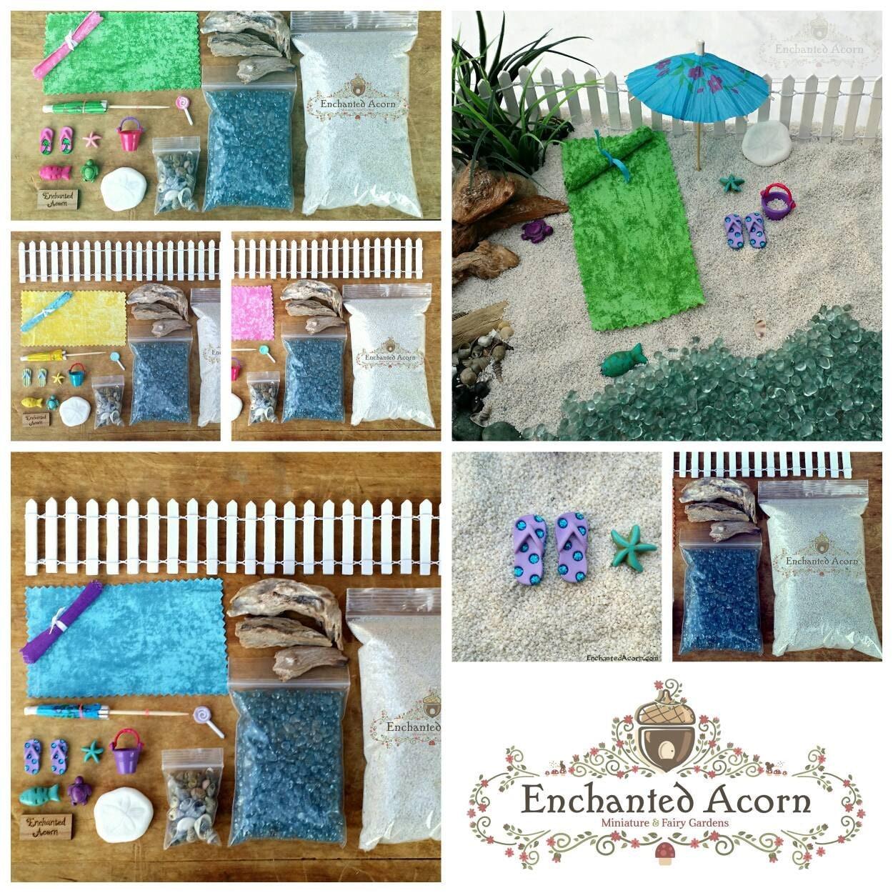 Green beach fairy garden kit large miniature beach for Diy miniature garden accessories