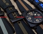 JaysAndKays® 24mm Silicone Rubber Strap Striped Band for Bell & Ross BR-01 or BR-03 PVD