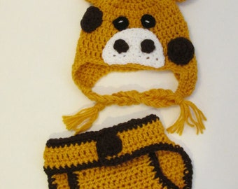 Giraffe Hat Animal Hat, Crochet Newborn Giraffe Hat and Diaper Cover Set, NB-3Mo Photo Prop