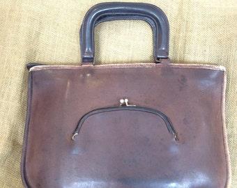 Authentic vintage COACH Cashin brown leather watermelon kisslock brief business bag