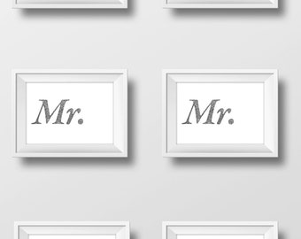 Wedding Mr/Mrs Print - Ink- Drawing - Art