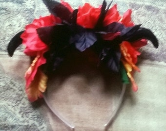 Black and Orange Flower Headband with Horns