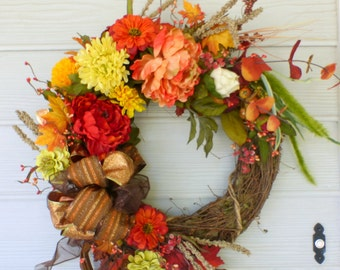 Fall Peonie wreath - Autumn Wreath - fall colors burgundy Yellow orange and green - door Wreaths - decorative wreaths - Fall wreath