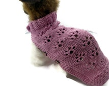 Chihuahua  hand knitted dog sweater in Dusky Pink with paw prints design.  Length 11  inches  / 28 cm