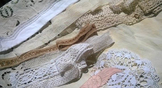 Antique French Haberdashery Lot Lace Braids Doilies Collar Applique Cotton Supply 11 Pieces Sewing Projects Fashion Decor #sophieladydeparis