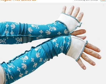 Anniversary Arm Warmers Blue Pirate Skulls Extra Long Above the Elbow Gloves