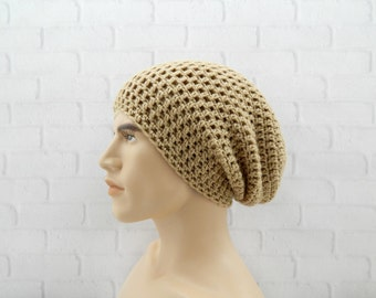 Skater Beanie Hat, Crochet Winter Hat, Mens Slouch Hat, Mens Slouchy Beanie, Hipster Cap, SAND BROWN Beanie, Vegan Friendly Hat, Baggy Hat