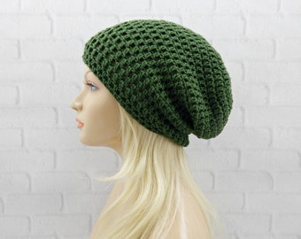 Olive Green Slouch Hat, Oversized Hat, Womens Hat, Slouchy Winter Hat, Baggy Beanie, Vegan Hat, Crochet Beanie, Slouchy Beanie Hat