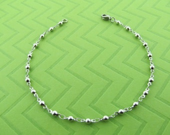 stainless steel ball chain ankel bracelet. available in 9 and 10 inches