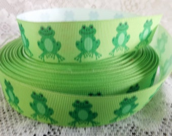 Frog ribbon Green frog ribbon 1 inch frog Grosgrain ribbon