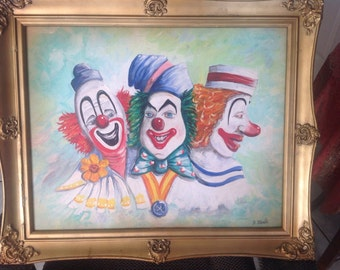 Orignal Painting Acrylic on canvas 3 Clowns  16''X 20''...Framed and ready to hang
