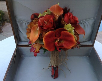 Fall bridal bouquet designed with real touch orchids and calla lilies
