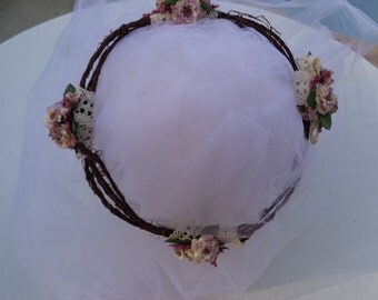 Romantic hair crown in lavender and ivory