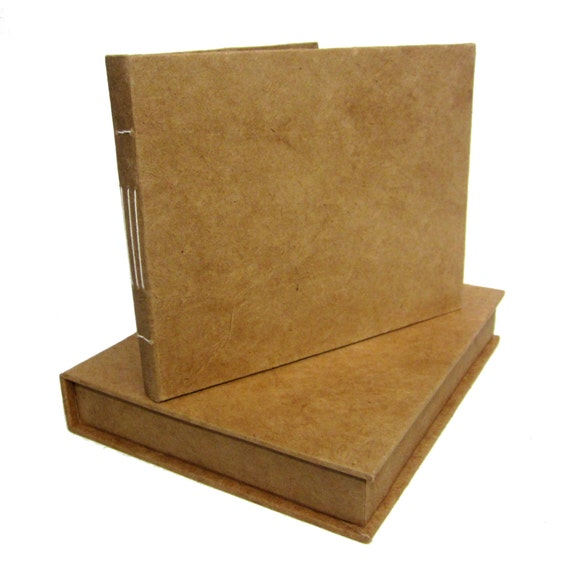 Boxed Guestbook, Kraft Vintage Wedding Guestbook, Natural Lokta Sewn Pages