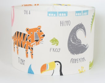 Lampshade in Scion Guess Who Animal Magic fabric in Tutti Frutti/Chalk