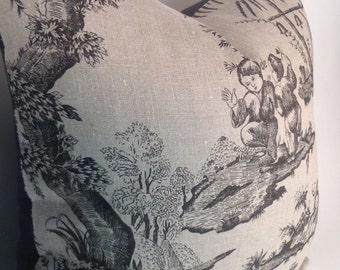 Asian toile pillow cover