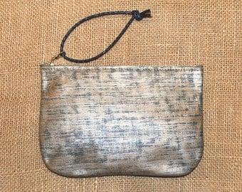 Uppity Little Wristlet, Handcrafted Blue Silver Leather Wristlet, Makeup Bag, Cosmetics Case, Pencil Case, Evening Bag, Organizer